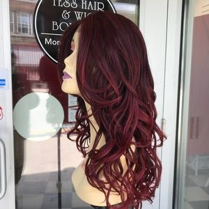 Accessories - Wig Red wine Burgundy Curly hair Blende Lacefront